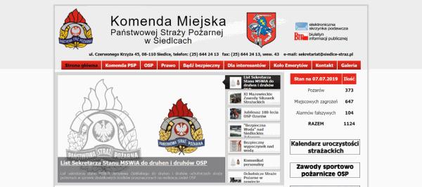 Siedlce STRAŻ Strona internetowa, realizacje